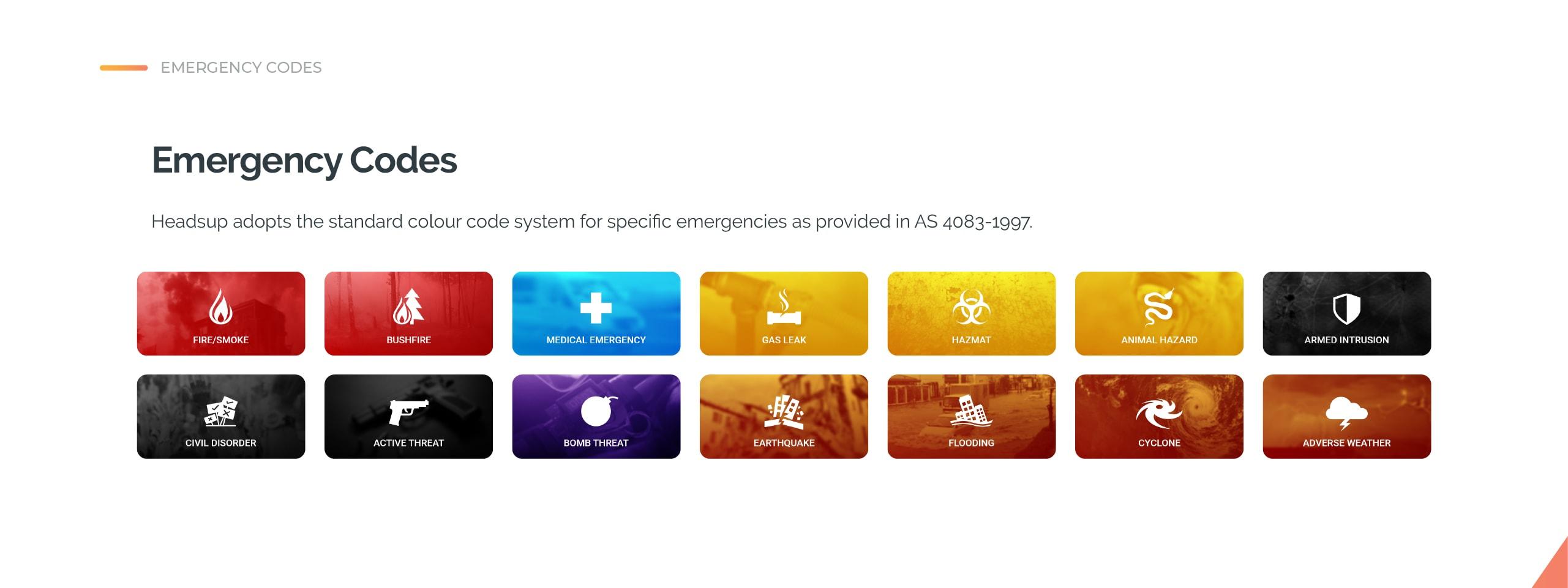 Headsup emergency codes
