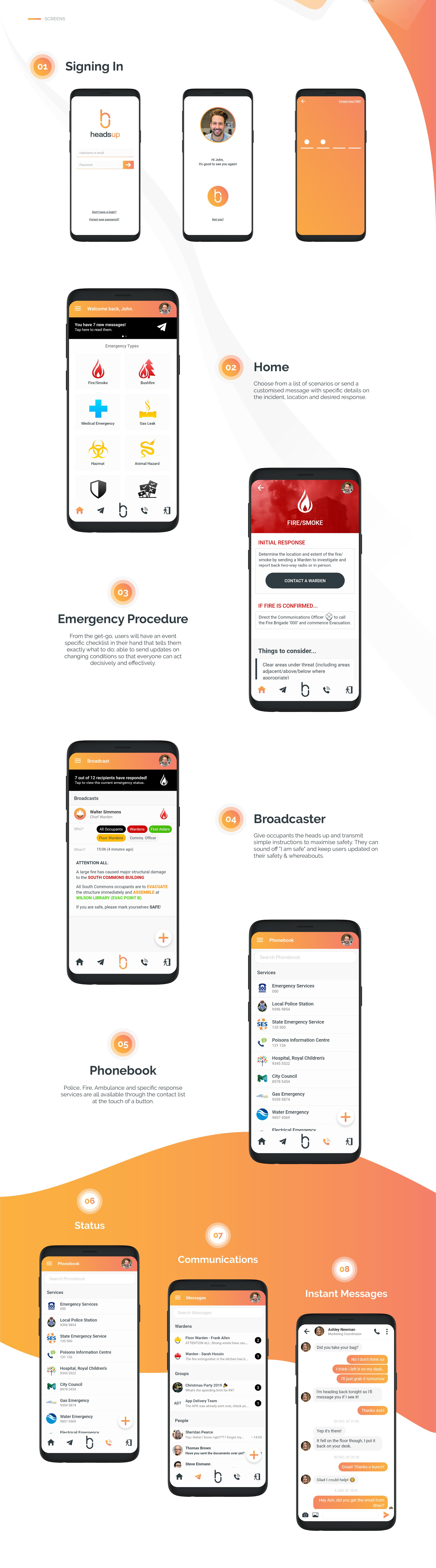 Headsup mobile screens