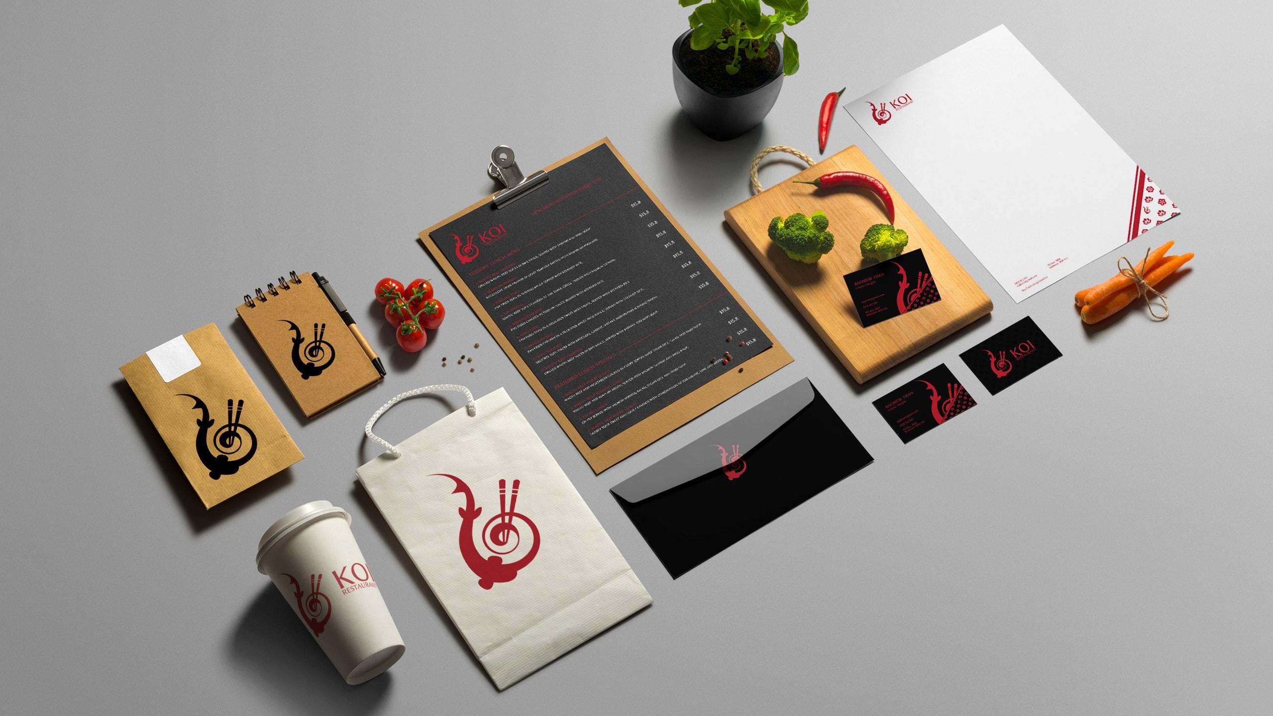 Koi branding mockups
