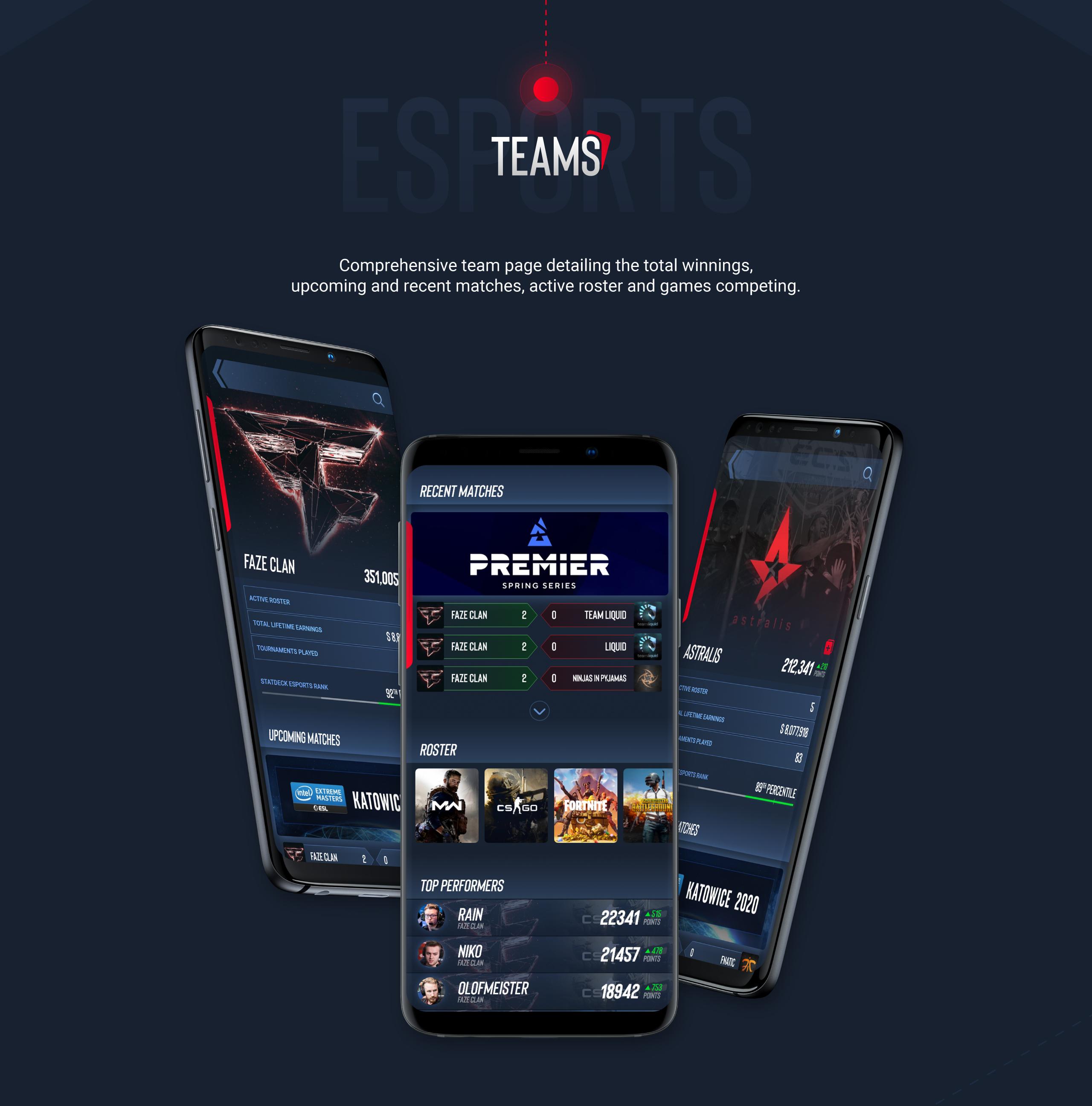 Statdeck screens - eSports teams